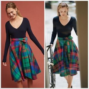 🆕NWT rare Anthropologie Plaid A-Line Midi Skirt